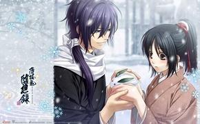 Picture winter, snow, snowflakes, samurai, kimono, two, art, demons pale cherry, chizuru yukimura, hakuouki shinsengumi kitano, …