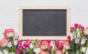 Picture flowers, roses, Board, pink, buds, wood, pink, flowers, roses
