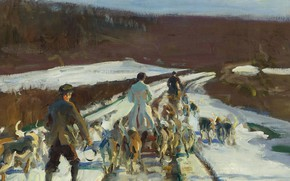 Picture landscape, picture, Alfred James Munnings, Alfred James Munnings, The Young Entry on a Snowy Road …