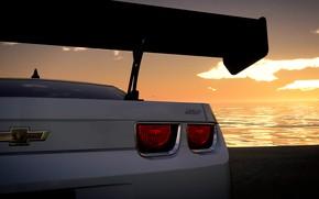 Picture car, camaro, chevrolet, mar, sol, the crew, praia, branco, fgame