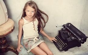 Wallpaper typewriter, kristina pimenova, Kristina Pimenova, look, girl