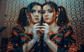 Picture face, reflection, model, hair, makeup, beauty