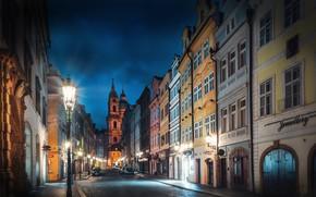 Wallpaper street, building, home, Prague, Czech Republic, lights, night city, bridge, Prague, Czech Republic