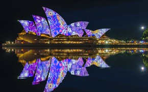 Picture night lights, Sydney, night city, Australia