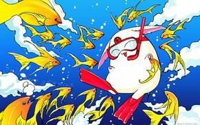 Picture water, fish, anime, art, xxxHolic, white animal