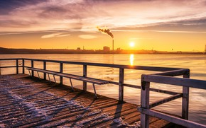 Picture winter, sunset, bridge, the city, river, bench