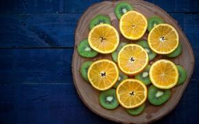 Picture orange, kiwi, fruit, slices, cutting Board