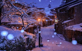 Wallpaper winter, snow, snowflakes, lights, street, home, the evening, Japan, lights, Kyoto