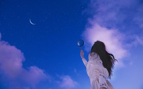 Picture the sky, girl, stars, magnifier, Lichon