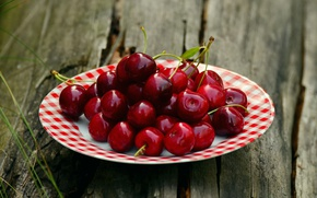 Picture cherry, berries, table, Board, food, Breakfast, harvest, plate, cherry, saucer, delicious