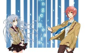 Picture petals, two, school uniform, art, ryzhyi, Kanade Tachibana, Angel Beats!, Yuzuru Otonashi, long white hair, …