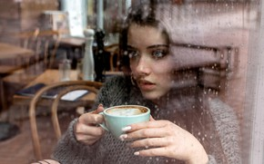 Picture Girl, rain, long hair, blue eyes, model, cup, mood, water drops, bokeh, window, lips, face, ...