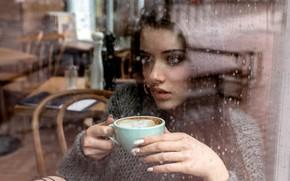 Picture Girl, rain, long hair, blue eyes, model, cup, mood, water drops, bokeh, window, lips, face, …