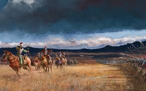 Picture battle, the battle, arrows, warriors, riders, battlefield, spears, Kelvin Liew, Arrow Storm