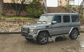 Wallpaper drops, stones, grey, Mercedes-Benz, pavers, SUV, ladder, stage, 4x4, dampness, G-Class, 2017, G 500, V8