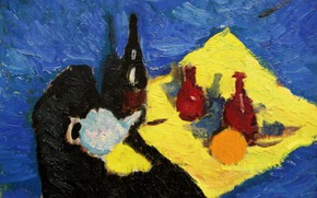 Picture wine, 2006, kettle, still life, blue background, The petyaev