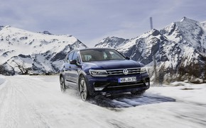 Picture winter, auto, mountains, speed, Volkswagen, Tiguan, R-Line, Worldwide