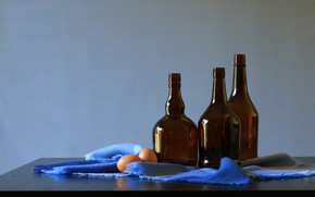 Picture style, bottle, eggs, still life