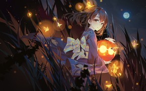 Wallpaper art, anime, IdolM@ster, girl, lantern