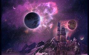 Wallpaper Space Home, mountains, tower, planet