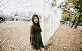 Picture girl, face, hair, the fence, dress