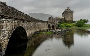 Picture landscape, bridge, nature, rain, Eilean Donan Castle
