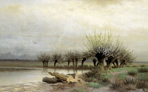 Picture the sky, trees, lake, oil, Spring, logs, Canvas, 1866, Lev KAMENEV
