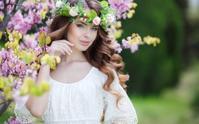 Picture greens, trees, flowers, background, makeup, garden, dress, hairstyle, brown hair, beauty, flowering, wreath, in white, …