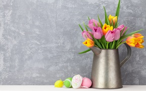Picture flowers, Easter, tulips, happy, pink, flowers, tulips, spring, Easter, eggs, decoration, pink tulips, the painted …