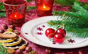 Picture balls, branches, holiday, lemon, toys, new year, Christmas, candles, plate, tree, nuts, needles, raisins, serving, …