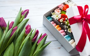 Picture flowers, box, bouquet, tulips, pink, wood, flowers, background, spring, macaroon