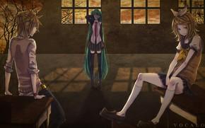 Picture girl, Windows, guy, Vocaloid, Vocaloid, three, Hatsune Miku, Kagamine Len, Kagamine Rin