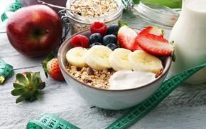 Picture berries, Apple, Breakfast, banana, yogurt, oatmeal