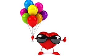 Picture balloons, heart, colorful, glasses, red, heart, funny, rendering, balloons, sunglasses, 3D Art