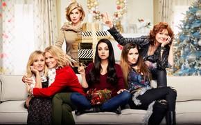 Wallpaper room, sofa, new year, gifts, tree, poster, box, Mila Kunis, Mila Kunis, Comedy, Kristen Bell, ...