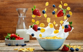 Picture berries, bottle, Breakfast, milk, cereal, splash.