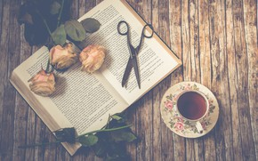 Picture flowers, tea, roses, book, buds, bats
