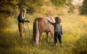 Wallpaper summer, nature, children, childhood, mood, horse, boy, village, meadow, friendship, girl, pony, curly, former, kids, ...