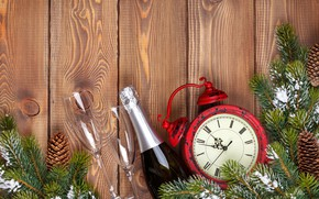 Picture decoration, watch, tree, New Year, glasses, Christmas, champagne, happy, Christmas, New Year, Merry Christmas, Xmas, …