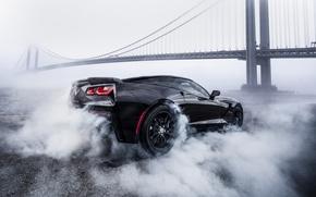 Picture bridge, smoke, Corvette, Chevrolet, black, smoke, Chevrolet Corvette