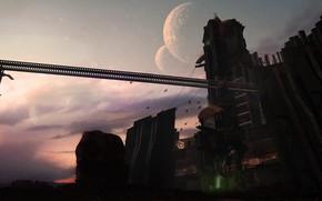 Picture birds, planet, tower, construction, Combine Outpost