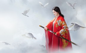 Picture girl, weapons, fantasy, art, pigeons, Red, wenfei ye