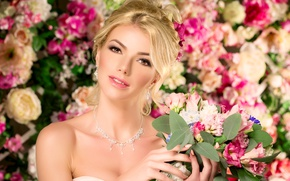 Picture girl, decoration, flowers, background, bouquet, earrings, necklace, makeup, hairstyle, blonde, beauty