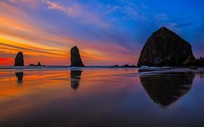 Picture rocks, shore, tide, Oregon, glow, USA