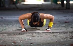 Wallpaper woman, workout, fitness, push-ups