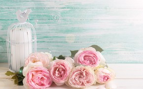 Wallpaper flowers, flowers, vintage, bouquet, candle, roses, pink, wood, roses, pink