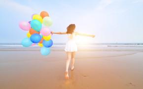 Wallpaper happiness, summer, colorful, sand, sea, beach, happy, stay, balloons, balloon, the sun, summer, girl, girl, ...