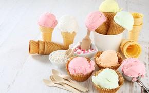 Picture strawberry, ice cream, waffles, strawberry, dessert, ice cream, wafer