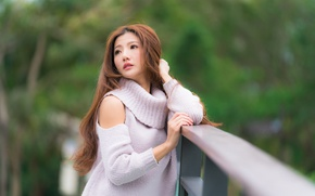 Picture girl, hair, railings, Asian, sweater, bokeh