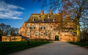 Wallpaper lawn, clouds, track, grass, the sky, Castle Hernen, autumn, Netherlands, castle, the bushes, trees, garden, ...